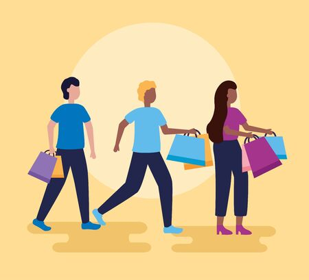 men and woman holding shopping bags vector illustration