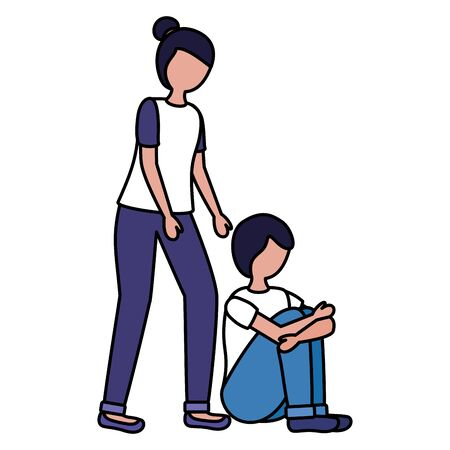 girl and boy with mental disorder psychological depressed vector illustration  イラスト・ベクター素材
