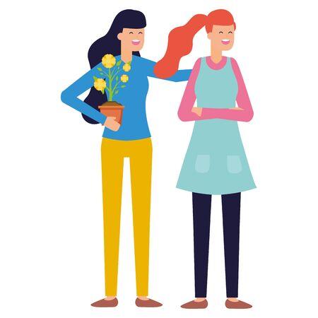 jardinier, femmes, fleur, travail, jardinage, conception, vecteur, illustration