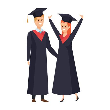 young couple students graduated celebrating vector illustration design Illustration
