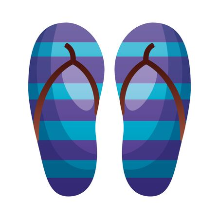 rubber flip flops accessory on white background Ilustracja