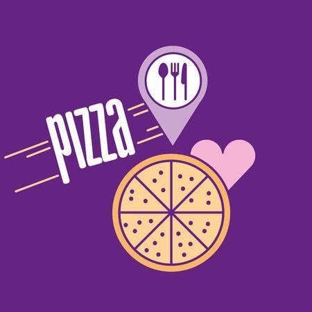 Fast food and pizza design, restaurant menu dinner lunch cooking meal and tasty theme Vector illustration Ilustração