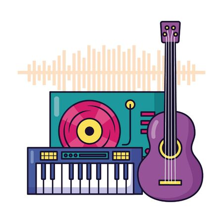 turntable vinyl record synthesizer guitar music festival vector illustration