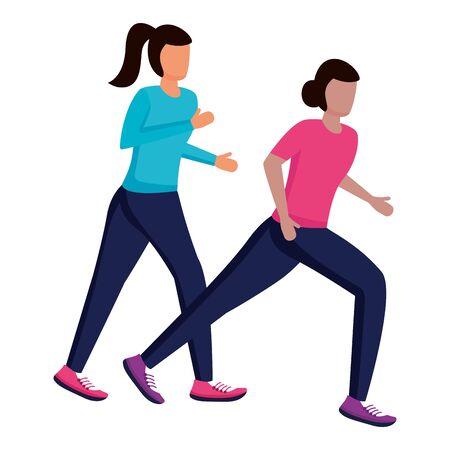 couple characters running activity on white background vector illustration Ilustracja