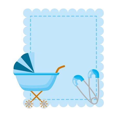 pram boy decoration baby shower card vector illustration Çizim