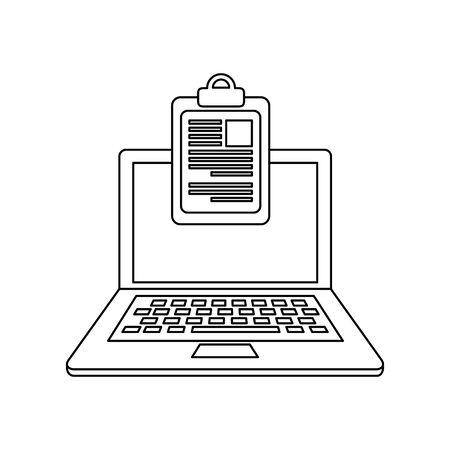 checklist clipboard with laptop computer vector illustration design