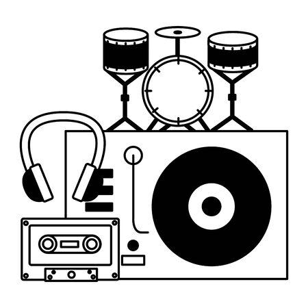turntable vinyl drum headphone cassette instrument and equipment festival music vector illustration
