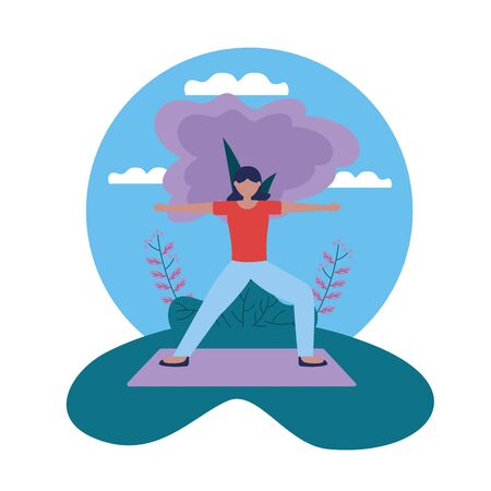 woman yoga outdoor enjoy flexing body vector illustration