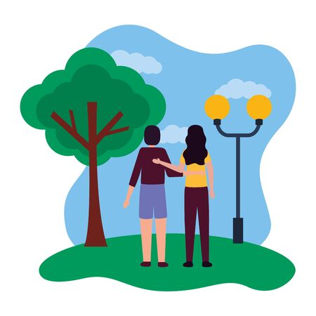 romantic couple in the park with lamp post and tree vector illustration