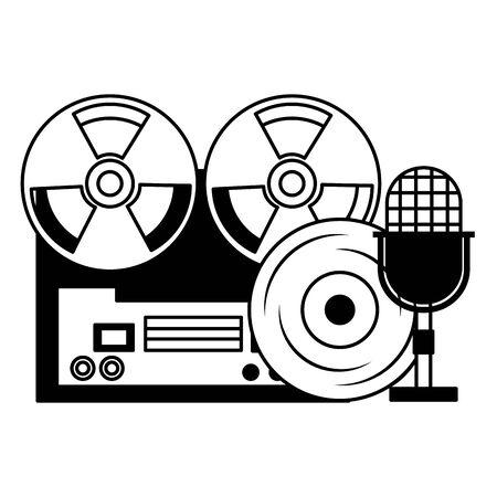 magnétophone à bobines microphone vinyle équipement festival musique illustration vectorielle
