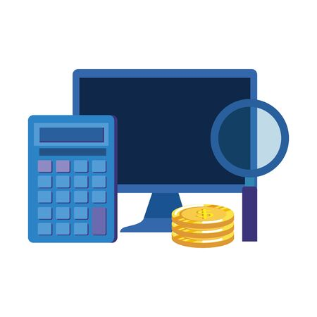 coins money dollars with desktop and calculator vector illustration design 向量圖像