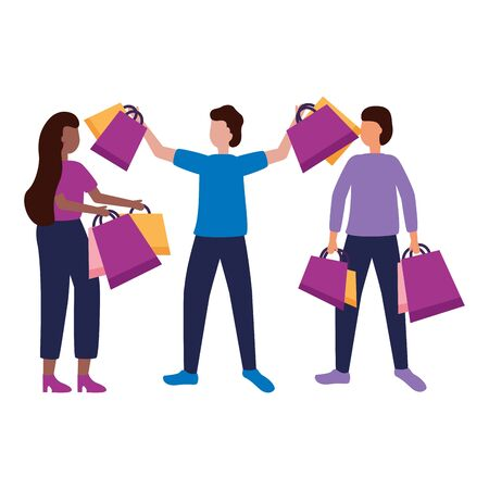 people with shopping bags commerce vector illustration