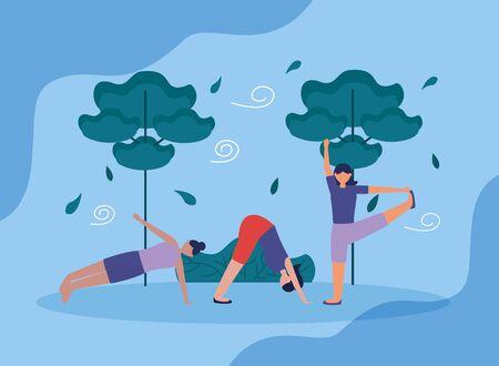 yoga outdoor women flexing body nature plants vector illustration  イラスト・ベクター素材