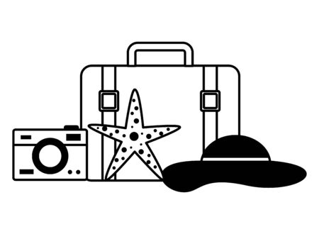 summer time holiday suitcase hat sunglasses camera starfish  vector illustration