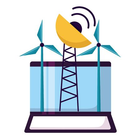 laptop windmill antenna on white background vector illustration Archivio Fotografico - 129894339