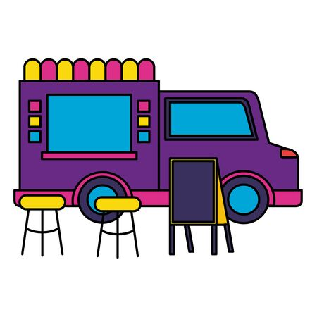 food truck street seats board vector illustration Иллюстрация