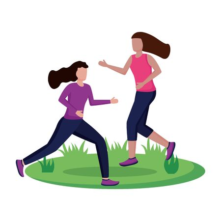 two women practicing running activity outdoors vector illustration