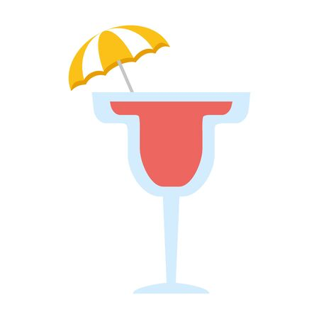 cocktail with umbrella on white background vector illustration