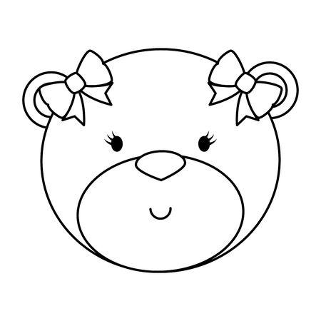 little female bear teddy with bows vector illustration design