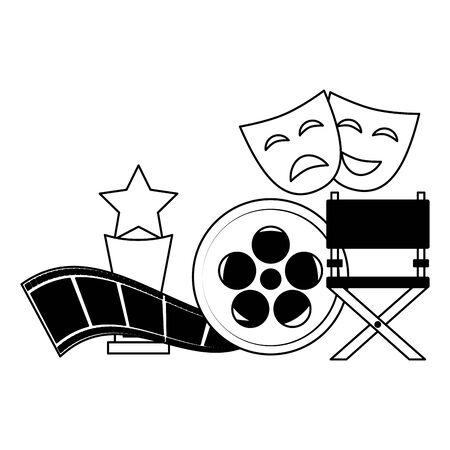 chair award theater masks reel film cinema design vector illustration Illustration