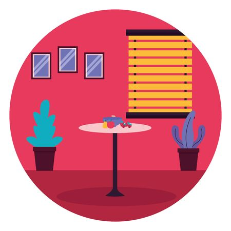 cucina frutta tavolo finestra piante mobili adesivo illustrazione vettoriale