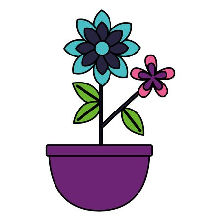 flowers in pot plant decoration vector illustration