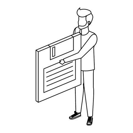Jeune homme de levage de stockage de données sur disquette conception d'illustration vectorielle