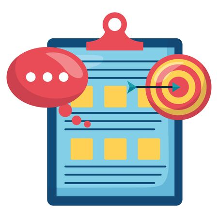 checklist clipboard document with target and speech bubble vector illustration Stockfoto - 129894252