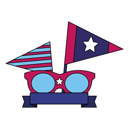 sunglasses flags american happy independence day vector illustration Ilustrace