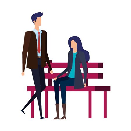 elegant business couple seated in the park chair vector illustration design