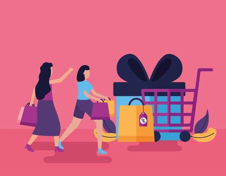 shopping cart gift box girls with bags vector illustration