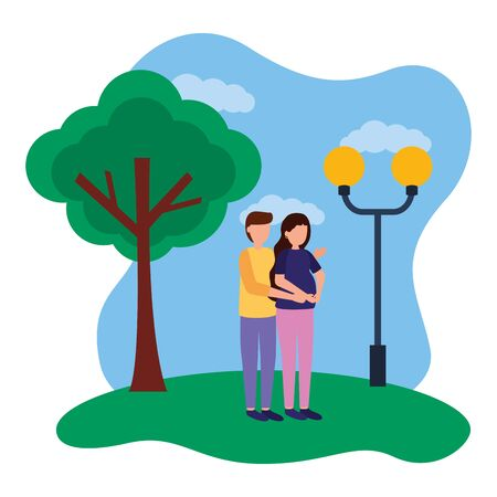 man and woman pregnancy and maternity in the park vector illustration Çizim