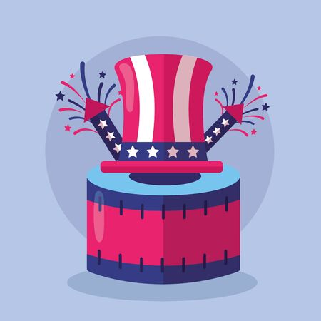 hat drum rocket fireworks american happy independence day vector illustration Illustration