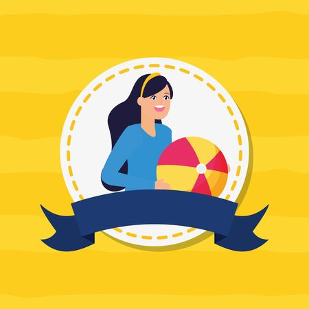 woman with beach ball happy youth day flat design vector illustration