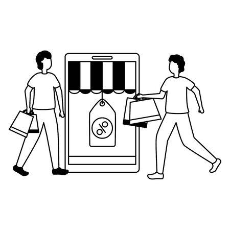 men smartphone tag price shopping bag commerce vector illustration