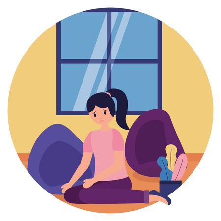 woman in the room mental disorder psychological depressed vector illustration Foto de archivo - 129984355
