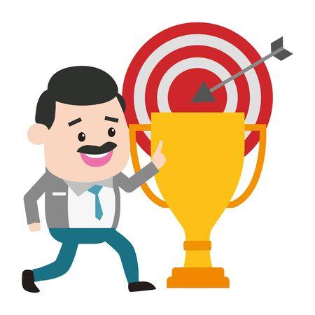 businessman trophy target arrow success vector illustration