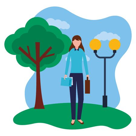 business woman standing in the park vector illustration