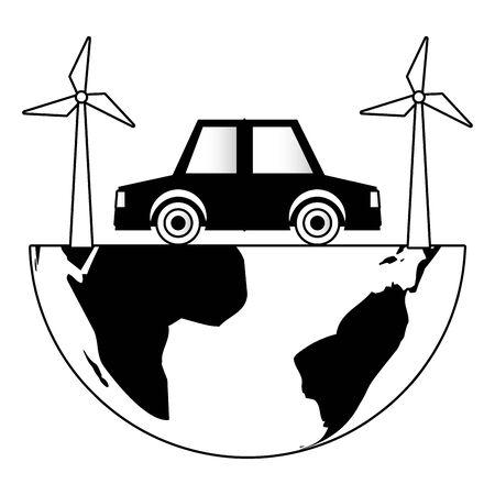 world vehicle windmill sustainable energy eco friendly environment vector illustration