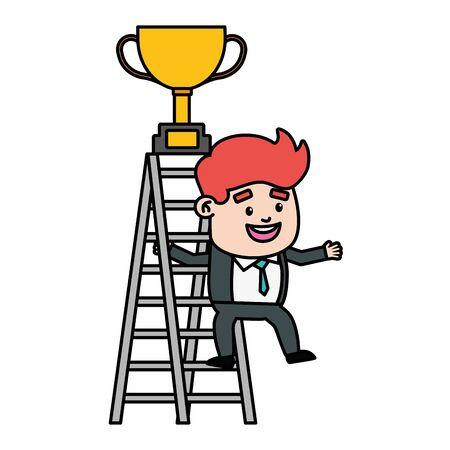 businessman climb ladder trophy on top vector illustration  イラスト・ベクター素材