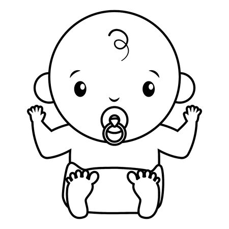 baby boy with pacifier on white background baby shower vector illustration 向量圖像