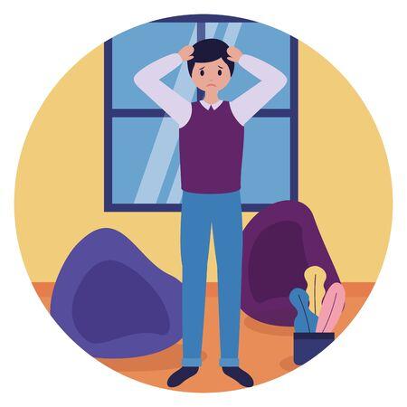 boy in the room sadness mental depressed vector illustration