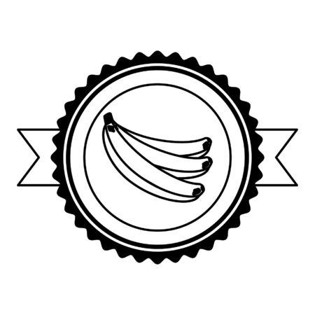 banana tropical fruits badge ribbon vector illustration Ilustracja
