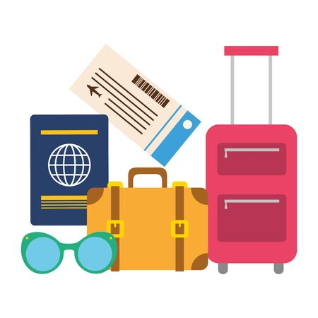 vacations suitcase passport sunglasses ticket vector illustration Vectores