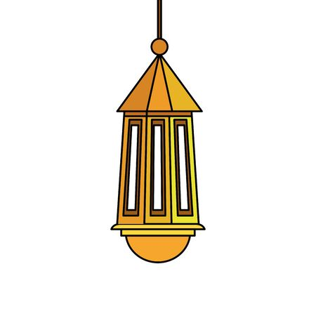 ramadan kareem lamp hanging decoration vector illustration design