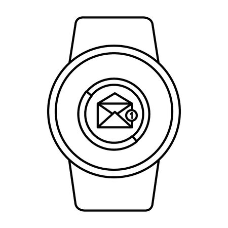 smartwatch with envelope email icon vector illustration design Çizim