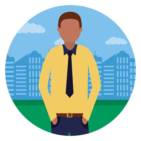 business man in the city park vector illustration Illustration