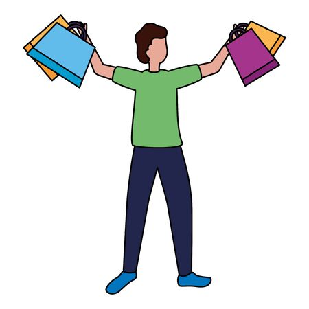 man character shopping bags market vector illustration