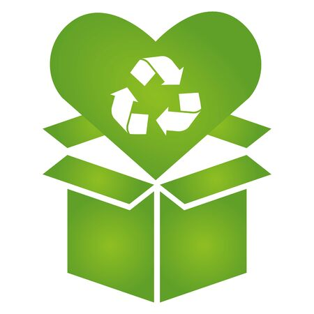 cardboard box love recycle eco friendly environment vector illustration