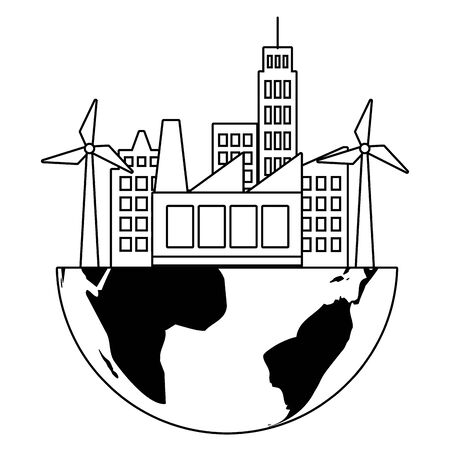 city factory windmill planet eco friendly environment vector illustration Illusztráció